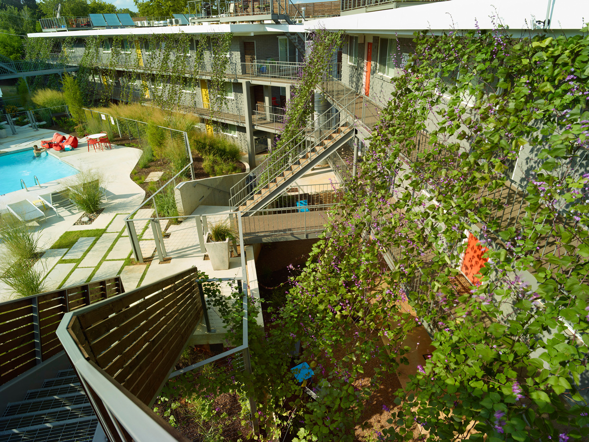 Stairs to rooftop deck